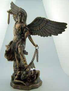 Saint St. Michael Standing On Demon With Sword & Chain Statue 10 Tall