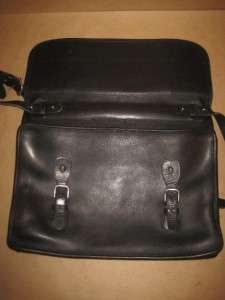 COACH Vintage Black Leather Portfolio Messenger Satchel Computer Cross