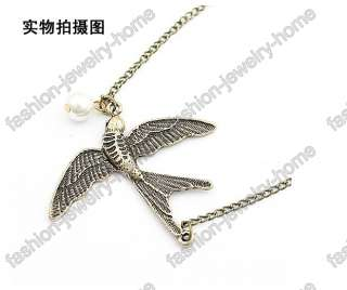fashion pearl retro bronze swallow necklace