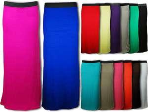 Ladies Skirt Womens Long Gypsy Dress Jersey Plain Straight Maxi