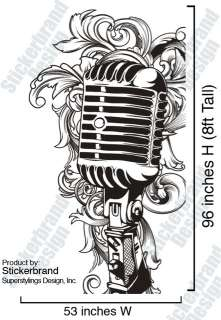 Vinyl Wall Decal Sticker Music Microphone 8ft Tall MIC
