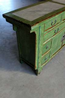 60 Wide Chinese Sideboard green 2 Door 9 Drawer W Marble top Cracked