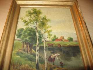 ANTIQUE SMALL OIL PAINTING RIVER CABIN COUNTRY WOMAN FARM WASHING