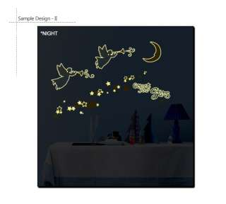 GLOW IN THE DARK   ANGELS & STARS NURSERY KIDS ROOM DECOR ART DIY