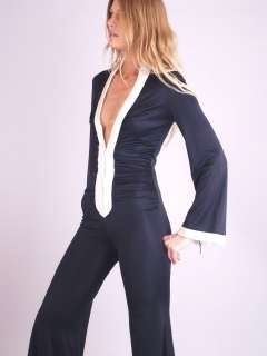 Vtg 70s PLUNGING V Angel Slv Dress BELL BOTTOM JUMPSUIT