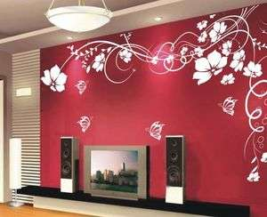 NEW Butterfly Vine Flower Art Wall Stickers Wall Decals House decor