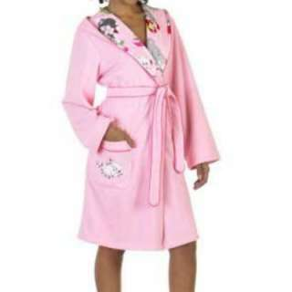 Girls Pink Nick & Nora Christmas Kittens Robe kitty cat