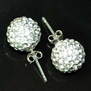 Disco Ball Rhinestone Earring White Swarovski Crystal Ball Earring