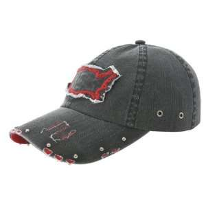 NEW LOW PROFILE TWILL VINTAGE WASHED BALL CAP BLACK/RED