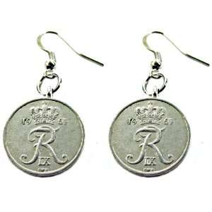 Ginas Originals Danish Genuine Antique Vintage Dangle Coin Earrings