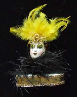 Porcelain Jester Lady Mardi Gras Pencil Holder Feathers