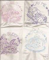 Quilt Blocks Embroidered Vintage Baby Prayer pink/blue