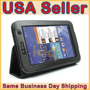 Black Folio Leather Case Cover Skin w/ Stand for Samsung Galaxy Tab 7