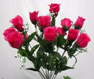 84 FUCHSIA PINK Long Stem Silk Rose Buds Wedding Flower