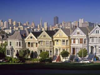 Alamo Square and City Skyline, San Francisco, California Usa