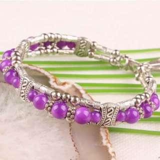 Fashion Tibetan Silver Glass Round Bead Bracelet Bangle 7