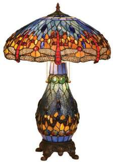 Dragonfly Tiffany Style Stained Glass Table/Desk Lamp