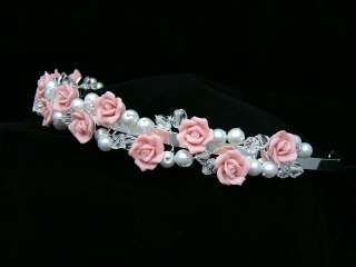 Pink Roses Wedding Bridal Crystal Pearl Tiara 9349
