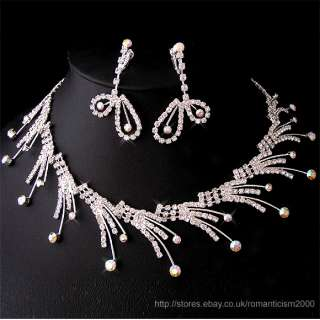 Wedding/Bridal crystal necklace earrings set S114