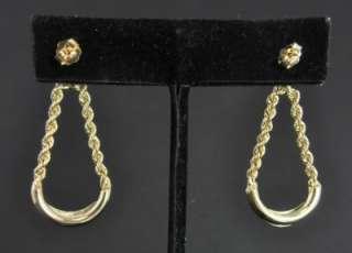 Estate Vtg 14K Gold Diamond Dangle Rope Chain Earrings