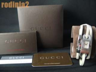 Auth Gucci Ladies 6100L Wrap Around White Strap Watch