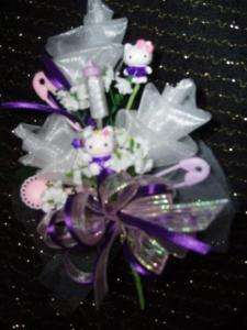 Baby shower Hello Kitty rose corsage pink blue purple