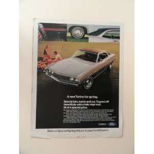 1971 ford torino, print ad (man/woman/picnic.) Orinigal Magazine Print