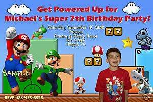 Super Mario Brothers Nintendo Birthday Invitations