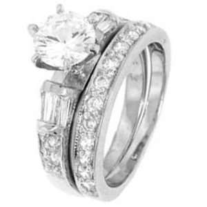Silver Wedding Ring Set with Round Cubic Zirconia in Six Prongs