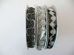Decorative Ribbon Trim LOT of 3 pks BLACK WHITE SILVER