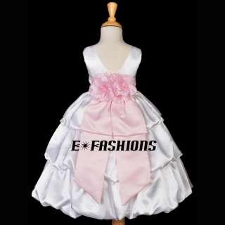 WHITE PINK WEDDING PRINCESS BRIDAL KIDS PAGEANT FLOWER GIRL DRESS 2 4