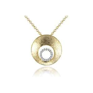 with a Pave Set Diamond Circle, Sliding on a 16 Cable Chain Necklace