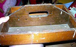PRIMITIVE ANTIQUE WOODEN KNIFE BOX TRAY TOOL W/ HANDLE