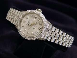 LADIES 18K WHITE GOLD ROLEX DATEJUST DIAMOND PRESIDENT