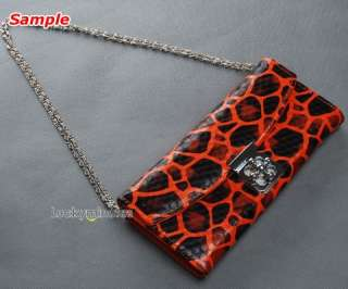 I805 Brown Leopard Print Flower Buckle Lady Wallet Purse Shoulder Hand