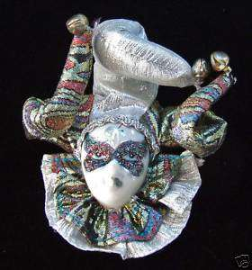 Porcelain Jester Face Mardi Gras Ornament Lady SILVER |