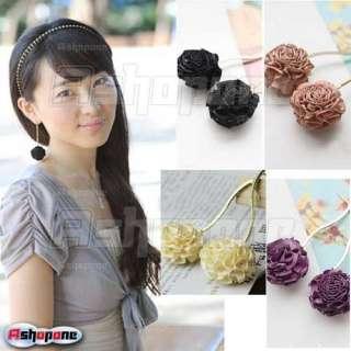 Fashion Cute Rose Flower Dangle Earrings 4 Colors