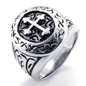Mens Black & Silver Stainless Steel Cross Ring Size 9