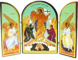 Wood Triptych Russian Icon Resurrection Of Jesus Christ