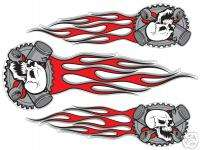 Skull & Red Flame decals for motorcycles, helmets