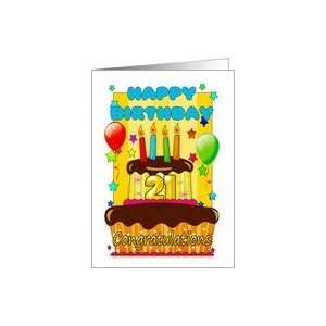 : birthday cake with candles   happy 21st birthday Card: Toys & Games