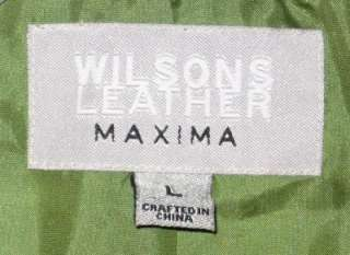 Wilsons Maxima Cropped Suede Leather Jacket Blue Large