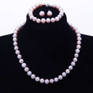 Freshwater 8 9mm Pearl Necklace Bracelet & Earring Set