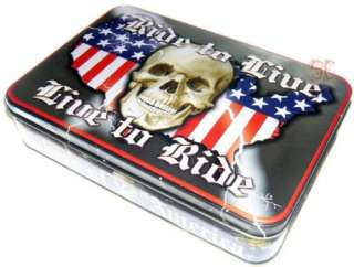 Knife Schrade Bikers of America Motorcycle Skull in Tin
