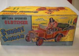Vintage 1950s Oldtimer Sunday Driver  Battery Tinplate Car.Boxed