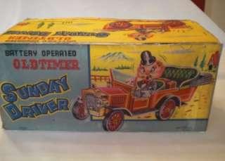 Vintage 1950s Oldtimer Sunday Driver  Battery Tinplate Car.Boxed