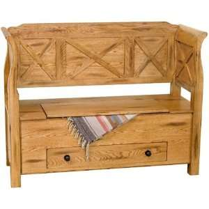 Sedona Bench with Storage and Drawer in Rustic Patio