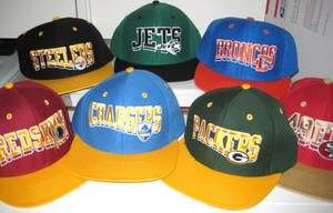 Vintage Retro Snap Back Flat Bill Hat Ball Cap   Assorted Teams