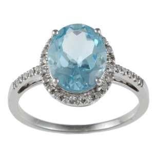 10k White Gold Oval Blue Topaz and Diamond Ring (1/10 TDW