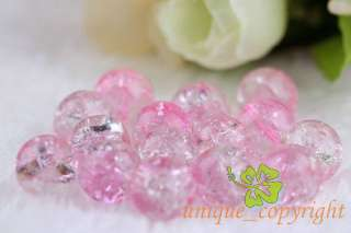 50 pcs Half Pink half clear Crackle Crystal glass Beads 10mm CR120